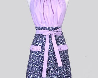 Cute Kitsch Womens Apron . Dreamscape Navy and Amethyst Retro Vintage Style Kitchen Cooking Apron with Pockets and Ruffled Trims