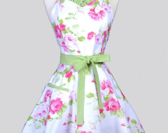 Sweetheart 50s Womens Apron / So Cute and Old Fashioned a Womans Retro Apron in Tanya Whelan Pink Roses with Kiwi Green