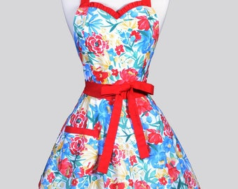 Sweetheart 50s Womens Apron / Bloomers Blue Red Yellow Summer Floral Retro Cute Flirty Vintage Style Pin Up Apron with Fitted Bodice