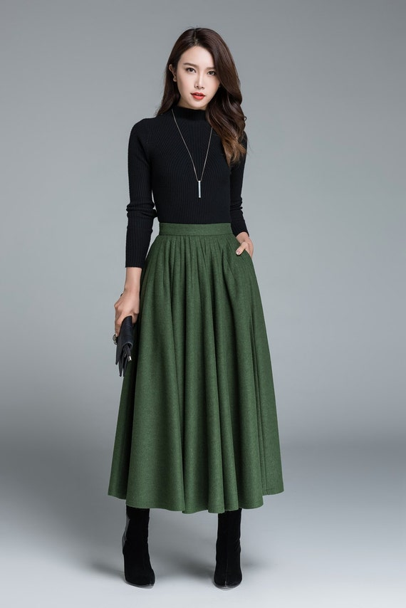 items similar to green wool skirt winter skirt pleated skirt fashion clothing skirt with. Black Bedroom Furniture Sets. Home Design Ideas