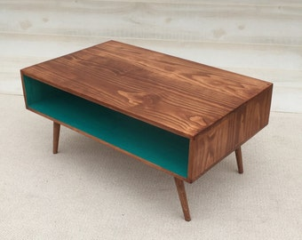 FREE SHIPPING!! The Slim: Handmade Coffee Table Mid Century Toffee and Teal Coffee Table