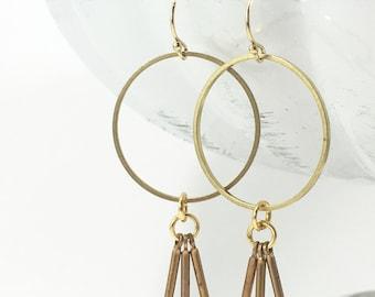 Hoop & Tassel Dangly Earrings | Brass | Gold Plated