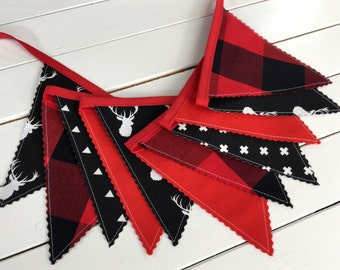 Bunting Banner, Boy Nursery Decor, Birthday Decoration-Red,Black,Buffalo Plaid,Lumberjack,Buck Head,Stag,Tribal Nursery,Arrow,Deer,Woodland