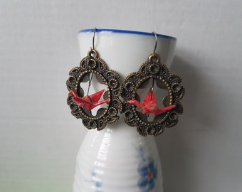 Origami crane earrings of red paper in bronze thick hoop