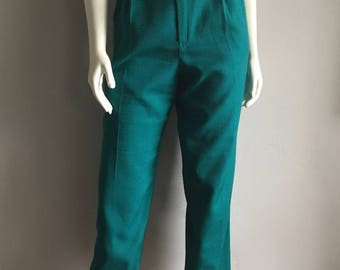 Vintage Women's 90's High Waisted Polyester Pants, Teal, Tapered Leg (XL)