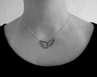 Two Leaves - Sterling Silver - Interlocking Leaves - For Her - Gifts Under 50 - Silver Necklace - Infiniti - Love - Heart
