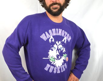 Vintage 80s 90s Purple Husky University of Washington UW Dawgs Sweatshirt