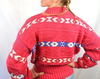 Vintage 1980s 90s Pink Geometric Southwest Knit Sweater