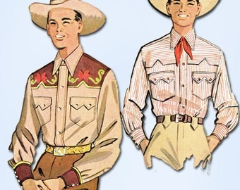 1950s Vintage McCall Sewing Pattern 1925 Mens Embroidered Western Shirt Size SM