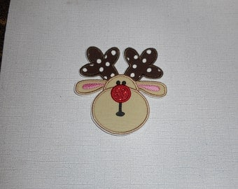 Free Shipping Ready to Ship Reindeer Machine Embroidery iron on applique