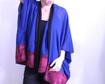 Blue Dots Kimono Cardigan. Star Print Cardigan. Chiffon Kimono Shawl. Light Loose Wrap. Sun Cover Up. Kimono Robe. Japanese Kimono Boho.