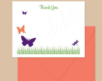 Butterfly notecards, Butterflies stationery set, personalized cards