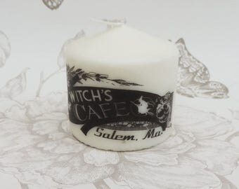 Gothic pillar candle -witch candle -halloween -gothic home decor- salem - witchcraft -macabre-