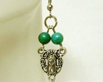 Rosary center turquoise earrings - E1030-312