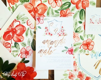 100 Azalea Wedding Invitations - Floral Watercolor Wedding Invitations - The Azalea Collection - By My Lady Dye