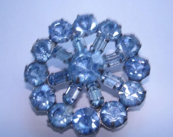 Signed Weiss Blue  Rhinestone Brooch