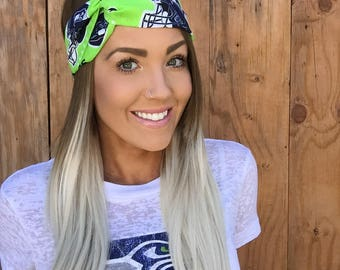 Seattle Seahawks Vintage Pinup Turban Headband || Hair Band Accessory Cotton Workout Yoga Football Fashion Navy Blue White Green Hawks Scarf