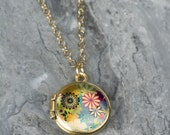 Tiny Colorful Flowers Locket, 14kt Gold Filled Chain, Pink and Yellow, Blue Floral, Miniature Pendant, Small, Photo Jewelry, Silver Locket