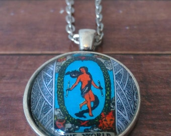 Tarot Card Necklace -- The World