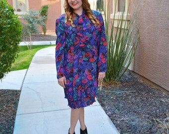 80s Tie Neck Dress Long Sleeve Dress Ruffled Floral Print Dress 80s Clothing Epsteam