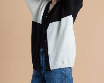 Vintage 80s Black & White Color Block Sweater
