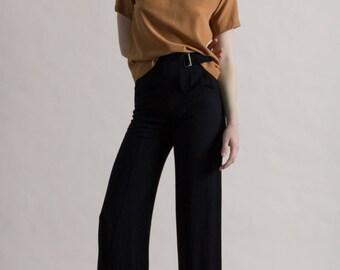 Vintage 90s Black Armani Wide Leg Trousers / Designer Pants / High Waist XS