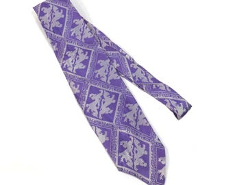 Troy Purple and Silver Double Lion Necktie Funky Vintage 1970s Mens Kitschy Tie - FREE Domestic Shipping