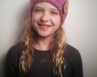 Kid's Hot Pink Eco Button Hat ***READY TO SHIP***