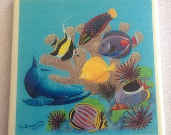 Hawaiian Art Pottery Tile - Vintage Tile Design by Seamus, Underwater Photographer - Captures Hawaii's Fragile Beauty