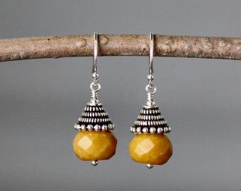 Jade Earrings - Yellow Jade - Bali Silver Earrings - Silver Wire Wrapped Earrings - Yellow Gemstones - Jade Jewelry - Jewelry Gift for Her