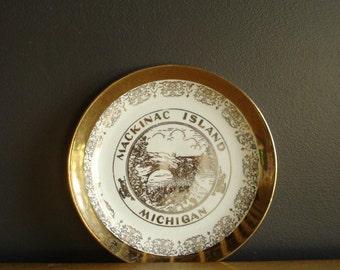 Michigan Love - Mackinac Island - Vintage Souvenir Plate - MI Love - Mich Gold White Small Plate