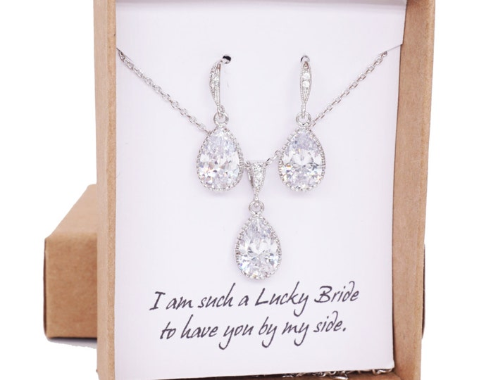 Suzette - Cubic Zirconia Teardrop Jewelry Set, Wedding Bridal Bridesmaid Earrings and Necklace, Cubic Zirconia Earrings, Silver gift for her