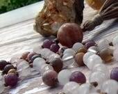 Rose Quartz Mala, Ruby Mala, Rhodochrosite Mala, Botswana Agate Mala, Peach Moonstone Mala, Prayer Beads, Yoga Necklace, Pink Mala, Crystal