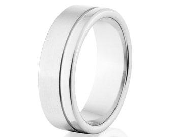Unisex Rings, 7mm Rings, Matte Cobalt Rings, Cobalt Wedding Band: CB-7F1GOC-B