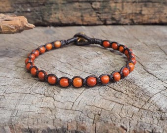 Wood Round Beads Bracelet, simple unisex bracelet