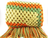 Crochet Afghan Throw Vintage Granny Square Avocado Green Harvest Gold Orange