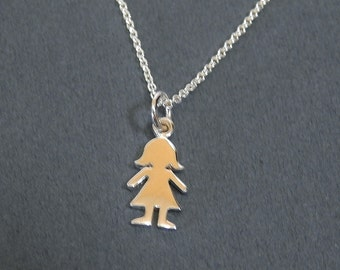 Sterling Silver Girl Charm Necklace Tiny Girl Silhouette Pendant Necklace