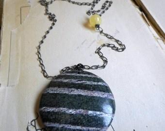 The Seven Sisters (Pleiades) Necklace. Banded Green Zebra Jasper Pendant &  Lemon Yellow Amazonite Satellite Moon Gemstone necklace ooak