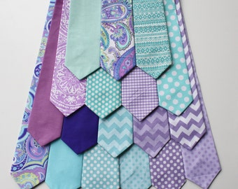 Little and Big Guy NECKTIE Tie - Spring Easter -Lavender and Aqua Collection - (Newborn-Adult) - Baby Boy Toddler Teen Man