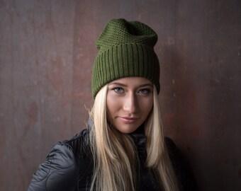 Forest green beanie, Knitted Beanie, Merino wool hat, Slouchy hat, Merino wool beanie, Knitted wool beanie,