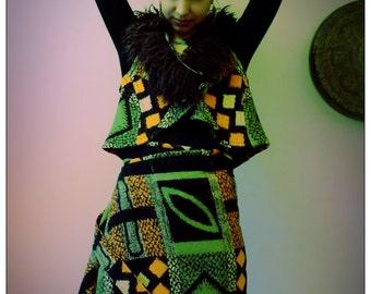 Upcycled Blanket & Sheepskin Gilet Waistcoat Orange Green 60s Pattern                               Made in Brighton UK