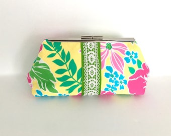 Preppy clutch, floral clutch, palm beach style, pink and green, resort clutch, Lilly inspired, one of a kind