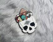 Mushroom Skull - BIG Hard Enamel Pin - silver plating