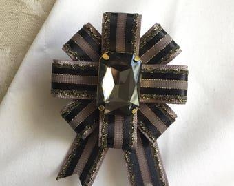 Black Gold Military Ribbon Pin Grey and Gold