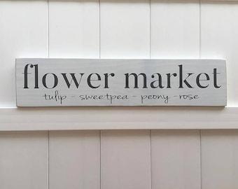 READY TO SHIP // flower market sign // Hand Painted Sign // Rustic Modern Farm House // Wall Art // Farmhouse Artwork // Farmhouse Decor