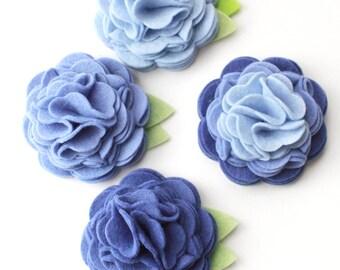 Shades of Blue- Flower for Dog Collar- Felt Flower