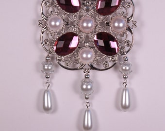 Light Amethyst and Pearl Tudor Brooch Renaissance Medieval Jewelry Pin Borgias Jane Seymour