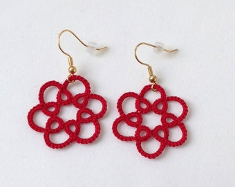 Red lace earrings, red floral earrings, red lace jewelry, red jewelry, lace jewelry, tatted lace earrings, red lace accessory, gift for her