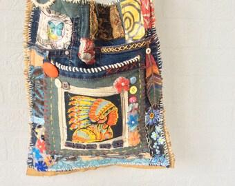 Handmade Unique Bag, Tribal Bag, Boho, Native American, Crossbody Strap