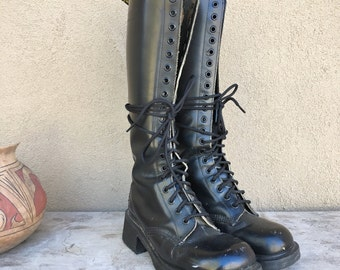 Vintage Dr Martens 20 eyelet combat boots Women UK 5 to 5.5 (US 7 to 7.5) Made in England Doc Marten tall black boot, lace up Dr Marten boot